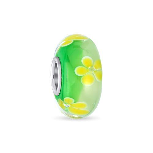 Murano Glass .925 sterling Silver Core Floral amarillo verde hibiscus flor espaciador encanto se adapta a la pulsera europea para las mujeres adolescentes