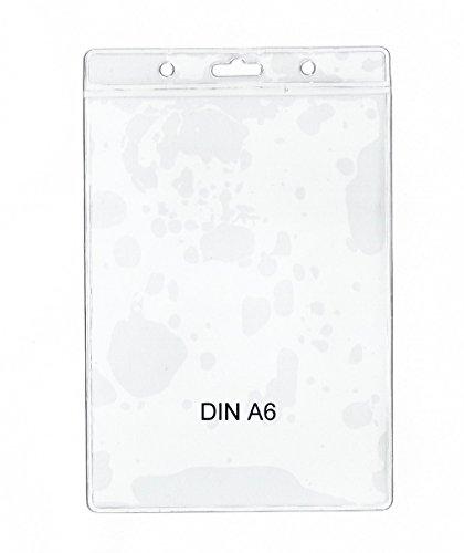 10 x Schutz und Ausweishülle DIN A6 (105 x 148 mm Dokumente), vertikal tragbar, 10 Stück transparent - twist4® - Schnell & in TOP Qualität …