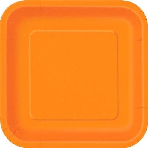 Orange Lot de 14 assiettes en carton carrées Orange 23 cm