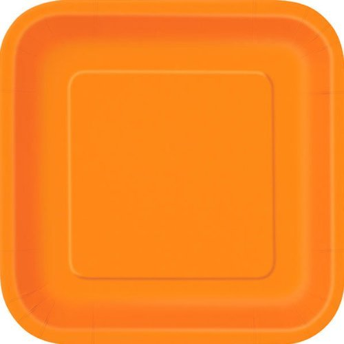 Orange Lot de 14 assiettes en carton carrées Orange 23 cm