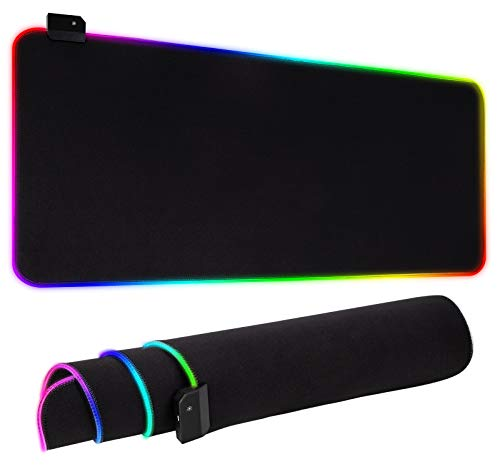 RGB Gaming Mouse Pad, Ultra Bright LED Light&Soft Large Extended Mousepad with 12 Lighting Rainbow Modes, Water Resistance, Non-Slip Rubber Base Keyboard Pad Mat, 31.5 X12 inch (Plain Black)