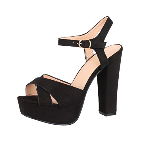 Elara Damen Pumps Bequeme Peep Toe Pumps Trendige Plateau High Heels Chunkyrayan AT0985 Black-40