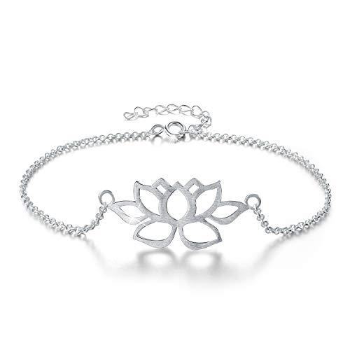 Lotus Fun S925 Sterling Silber Armband Aushöhlen Lotus blume Verstellbare Armbänder mit Kettenlänge 16.5-19CM, Handgemachter Einzigartiger Schmuck für Frauen und Mädchen
