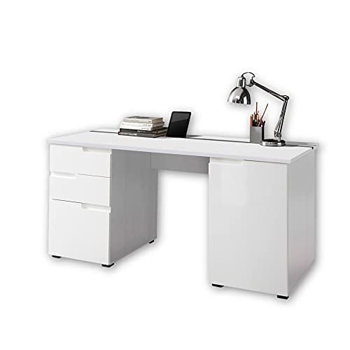 Stella Trading SPICE Schreibtisch mit Schubladen, Hochglanz Weiß - Bürotisch Computertisch fürs Homeoffice mit Stauraum und praktischer Tabletleiste - 158 x 76 x 67 cm (B/H/T)