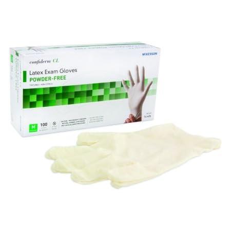 McKesson Confiderm Non-Sterile Latex Exam Gloves Powder-Free Ivory Ambidextrous Medium - Case of 1000 (100 per Box, 10 Boxes per Case)