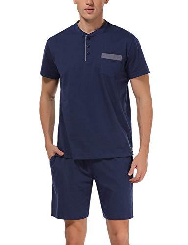 Hawiton Pijama de Verano Hombre Corto Ropa para Dormir de 100% Algodón Pijamas de Manga Corta 2 Piezas Camiseta y Pantalones Cortos para Hombres