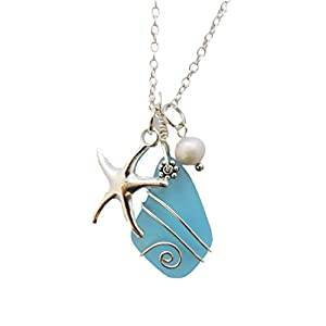 Handmade in Hawaii, Wire Wrapped Turquoise Bay blue sea glass necklace, Starfish charm, freshwater pearl, (Hawaii Gift…