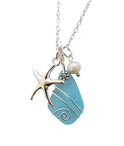 Handmade in Hawaii, Wire Wrapped Turquoise Bay blue sea glass necklace, Starfish charm, freshwater pearl, (Hawaii Gift Wrapped, Mother's Day Gift)