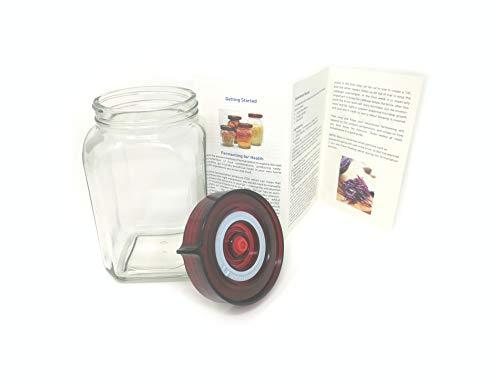 Gärglas mit Einweg-Luftablassventil Easy Open Wide Mouth Deckel und Silikondichtung - Ideal für Sauerkraut und Kimchi (1,6 Liter Quadrat)