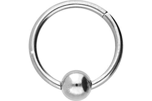 PIERCINGLINE Titan Segmentring Clicker | mit Kugel | Piercing Ring Septum Ohr Tragus Helix | Farb & Größenauswahl