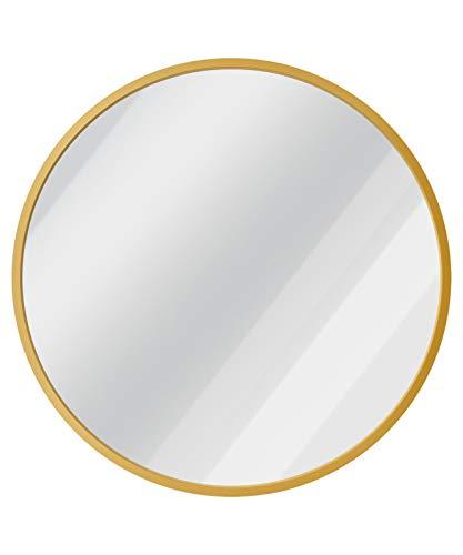 USHOWER Wandspiegel, rund, Metallrahmen, dekorativer Spiegel für Badezimmer, Eingang, Waschtisch und mehr, Bauernhaus & moderner Stil, goldfarben