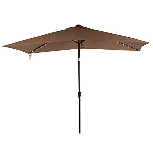 Sundale Outdoor Rectangular Solar Powered 22 LED Lighted Patio Umbrella Table Market Umbrella with Crank and Push Button Tilt for Garden, Deck, Backyard, Pool, 6 Alu. Ribs, 10 by 6.5-Feet (Tan)