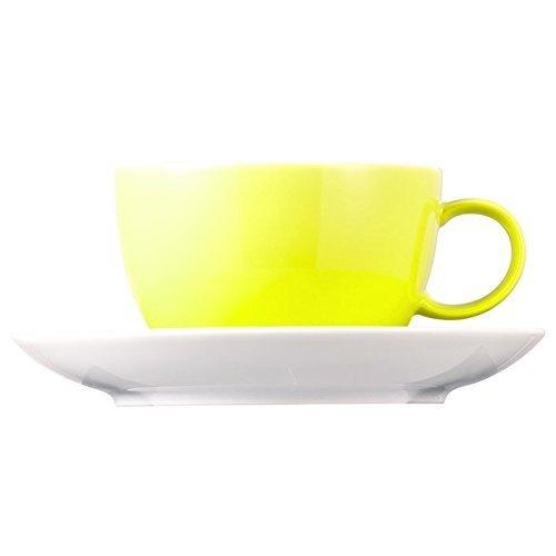 Tasse à Thé et Soucoupe Thomas Sunny Day, Porcelaine, Lime Green / Vert Citron, Compatible Lave-Vaisselle, 20 cl, 2 Pièces, 14640