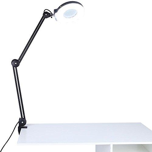 SOULONG - Lámpara de lupa estética plegable con 5 dioptrías de aumento con lámpara LED con brazo giratorio ajustable para salón de estética y tatuaje