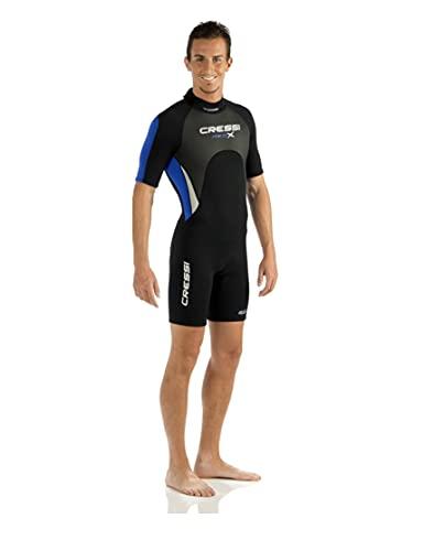 Cressi Med X Man Wetsuit 2.5 mm Traje Monoshort sin Capucha en Neopreno Biforrado, Hombre, Negro/Azul/Plata, M/3