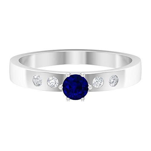 Piedra natal de septiembre – Anillo solitario de 4 mm de zafiro azul con diamante de 1/2 quilates, anillo de compromiso de oro simple, anillo de ajuste francés, oro de 10 quilates azul
