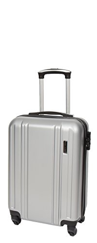 Cabin Size Strong 4 Wheel Hand Luggage ABS Hard Shell Lightweight Travel Bag AA03 Silver