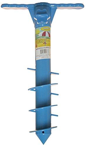 Fun Stuff 16 Inch Plastic Beach Umbrella/Tent/Fishing Pole Anchor Sand Screw (Blue)