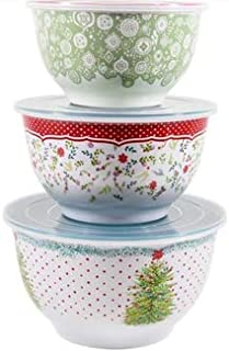 The Pioneer Woman Lily Dot Melamine Mixing Bowl Sets with Lids (Holiday Cheer)