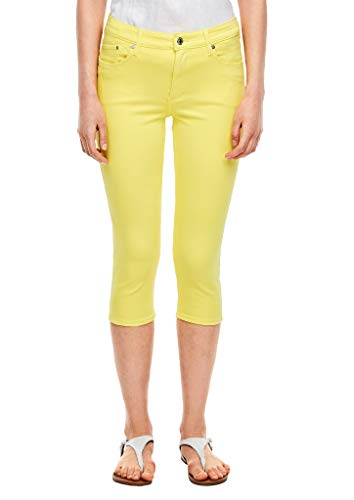 s.Oliver RED Label Damen Slim Fit: Caprihose aus Twill Yellow 42