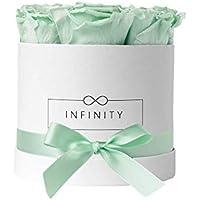 Infinity Flowerbox Medium (blanco) - 9 Rosas Real Premium en menta fresca