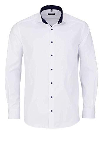 eterna Langarm Hemd Comfort FIT Twill unifarben, Weiß, W44 Langarm