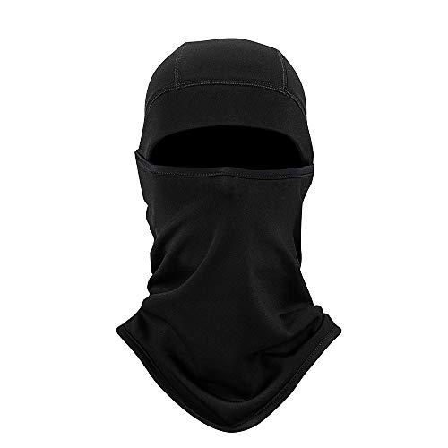 PRAVETTE Balaclava Sturmhaube Sturmmaske Skimaske - Motorradmaske Skimaske - idealer Kopfschutz, Nackenschutz, Gesichtsschutz für Ski und Wintersport - Schwarz