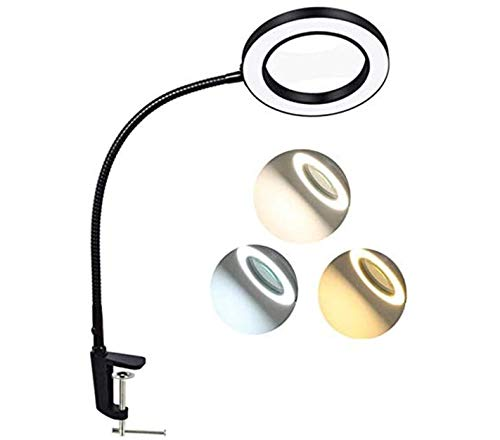 Magnifying Lamp, BZBRLZ Dimmable Eye-Caring LED Desk Lamp, 5X Magnification, Infinite Brightness Adjustable, 3 Color Modes, Perfect for Reading, Working or Crafting