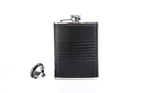 Flask for Liquor and Funnel Whiskey Flask 8 Oz Stainless Steel Hip Flask Black Leather Flask Funnel Camping Metal flask for Discrete Shot Drinking of Alcohol Whiskey Bourbon Rum Vodka Gift for Men