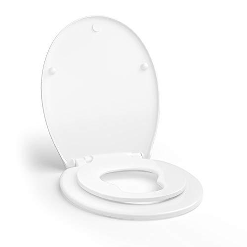 GOPLUS Toilettendeckel mit Integriertem Kindersitz, Toilettensitz für Erwachsene und Kinder, Abnehmbar zur Reinigung, Befestigung von oben, Sanftes Schließen für mehr Sicherheit, Weiß