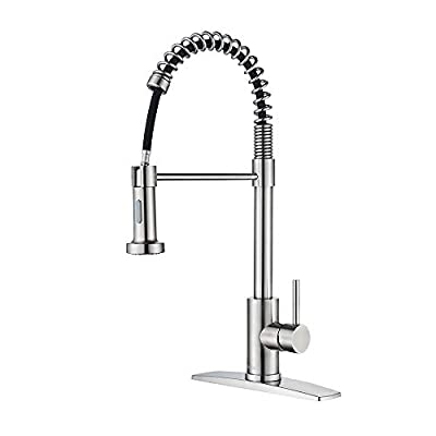FORIOUS Kitchen Faucet with Pull Down Sprayer, Commercial Spring Kitchen Sink Faucet with Pull Out Sprayer, Single Handle Kitchen faucets with coved Plate, Brush Nickel