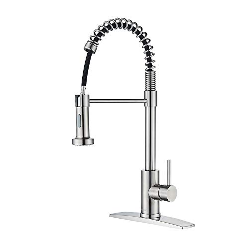 FORIOUS Kitchen Faucet with Pull Down Sprayer, Commercial Spring Kitchen Sink Faucet with Pull Out Sprayer, Single Handle Kitchen faucets with Deck Plate, Brush Nickel