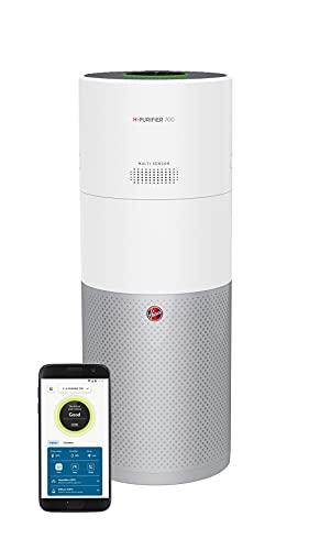 Hoover HHP70CAH H-Purifier 700 Purificatore d'Aria con Filtro HEPA e ai Carboni Attivi per Allergeni e Pollini, Umidificatore per Ambienti, Connettività Wi-Fi, 110 mq, Bianco e Argento