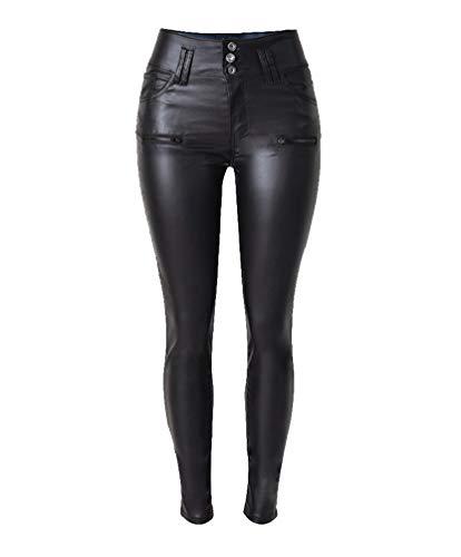 HX fashion Leren Legging Dames Elegante Chinobroek Comfortabele Maten Broek Skinny Young Fashion Grote Maten Zwart Lang Herfst