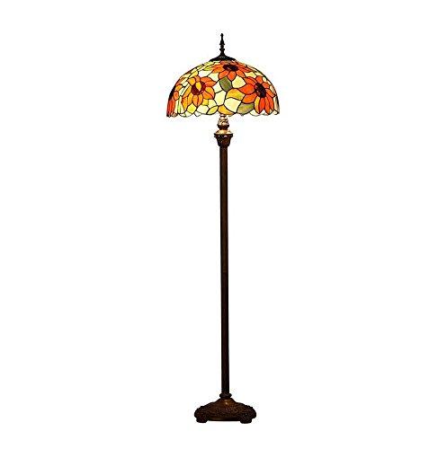 Tiffany-stijl staande lamp creatieve LED hars standaard lamp glasverf ijzeren tafellamp zon bloem decoratie lamp E27 × 2 (gloeilampen niet inbegrepen) GJX