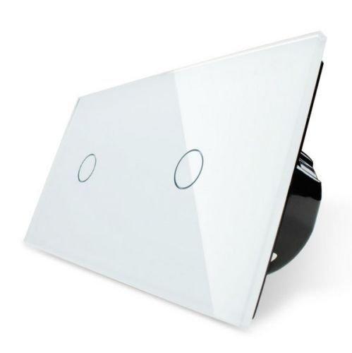 Livolo Lichtschalter Glas Touch Dimmer Weiss 2 Fach C701D-11/C701D-11