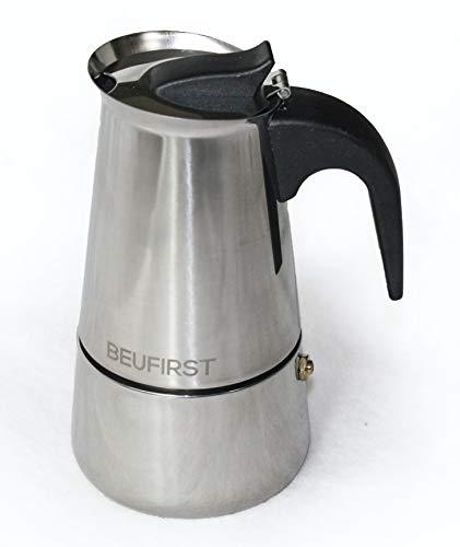 Cafetera Italiana Inducción Acero Inoxidable, 2 a 3 Tazas, Cafetera en Acero Inoxidable, Apta para cualquier Fuente de Calor: Inducción, Vitro, Gas o Alcohol (2-3 Tazas, 200ml.)