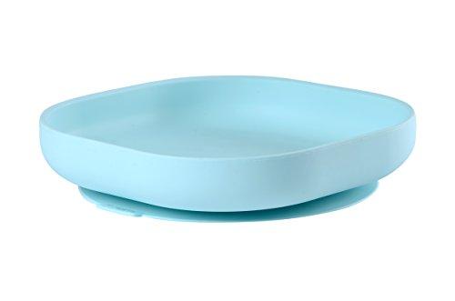 BÉABA, Assiette Ventouse pour Enfant, 100% silicone, matière douce et très resistante, Adhère table/tablette chaise haute, Languette permettant de soulever l'assiette, Compatible micro-onde, Bleu