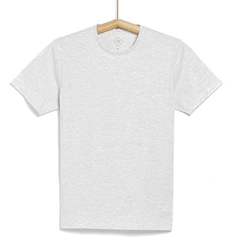 TEX - Camiseta Lisa de Manga Corta para Hombre, Crudo Claro, XL