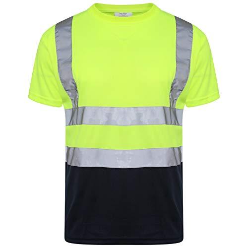 Camiseta de cuello redondo de alta visibilidad, reflectante, de seguridad, ligera, con ojo de pájaro, de manga corta, transpirable, ropa de trabajo, S-4XL Amarillo Amarillo/Azul Marino L