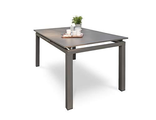 DCB GARDEN Zahara Table de Jardin, Aluminium, Taupe, 180/240x100