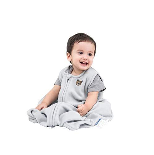 BEDSURE Sleeping Sack 6-12 Months Medium M with Micro-Fleece, 2-Way Zipper, Cozy & Sleeveless Baby Wearable Blanket, for Boys & Girls Grey