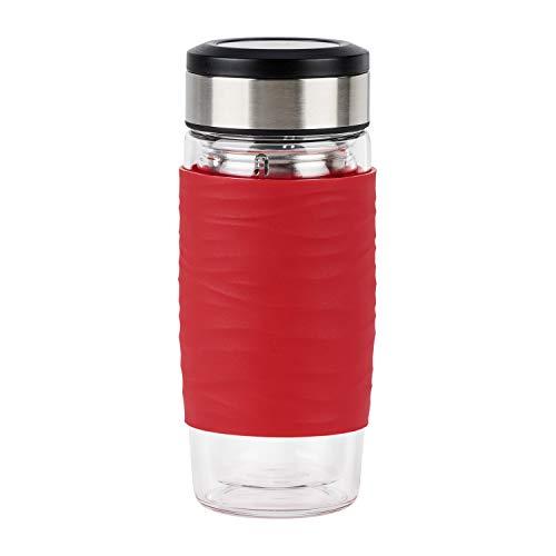 Emsa N2080400 Tea Mug Teebecher aus doppelwandigem Glas | 0,4 Liter | herausnehmbares Sieb | BPA-Frei | 100% dicht | auslaufsicher | spülmaschinengeeignet | 360°-Trinköffnung | Rot