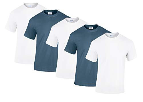 Gildan 5 Stück Heavy Cotton T-Shirt Herren Shirt S - 3XL Schwarz Weiß (M, 3Weiss/2Indigo)