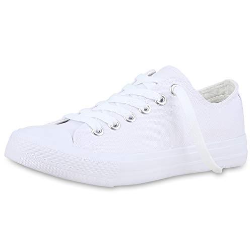 SCARPE VITA Damen Sneaker Low Basic Turnschuhe Schnürer Freizeit Schuhe Canvas Stoff Schnürschuhe 175081 Weiss Weiss White 42