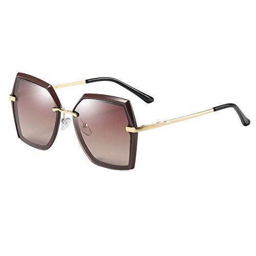WMYATING Gafas de sol, ojos, a prueba de luz y a prueba de arena, gafas de sol Nuevas Señoras Polarizadas Gafas de sol Moda Polígono Marco Marrón Gradient al aire libre 400 Protección