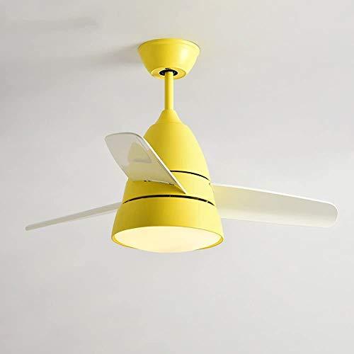 Deckenventilator Lampe moderne minimalistische Restaurant Kronleuchter Mode Wohnzimmerlampe Remote Home,Yellow