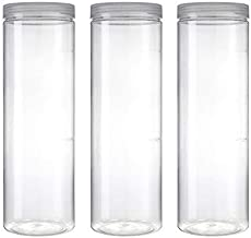Silicook Clear Plastic Jar, Set of 3-40oz, Round Shaped, Transparent, Food Storage Container, Kitchen & Household Organization for Dry goods, Pasta, Spices and More