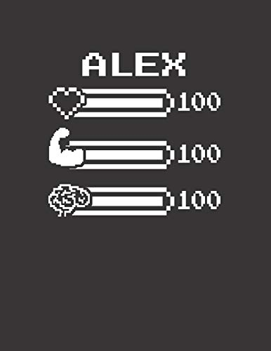 ALEX: Pixel Retro Game 8 Bit Design Blank Composition Notebook College Ruled, Name Personalized for Boys & Men. Gaming Desk Stuff for Gamer Boys. ... Gift. Birthday & Christmas Gift for Men.