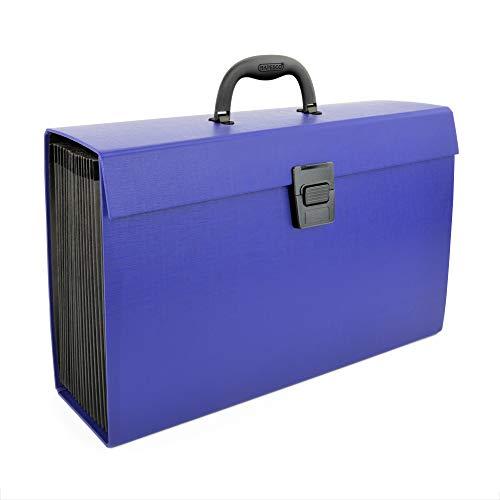 Rapesco Documentos - Caja Clasificadora con 19 separadores, asa y cierre- azul